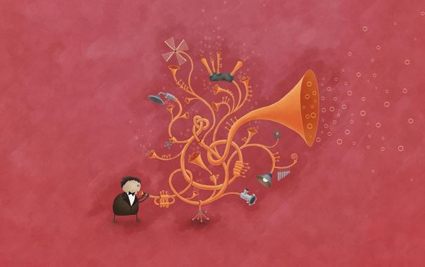Фото обои пузырьки, музыка, Труба, владстудио