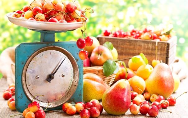 Фото обои ящик, абрикос, весы, груши, черешня, листики