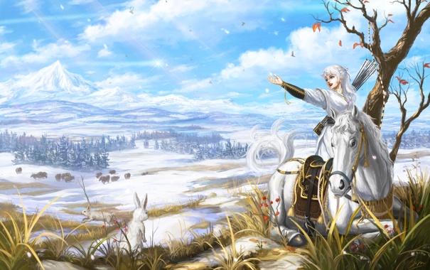 Фото обои животные, девушка, снег, улыбка, лошадь, арт, живопись