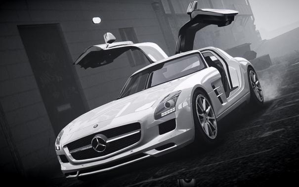 Фото обои машина, туман, GTA 4, Mersedes SLS