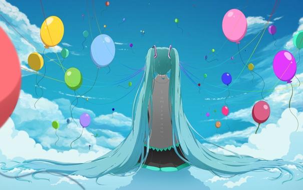 Фото обои небо, девушка, облака, шарики, спина, vocaloid, hatsune miku