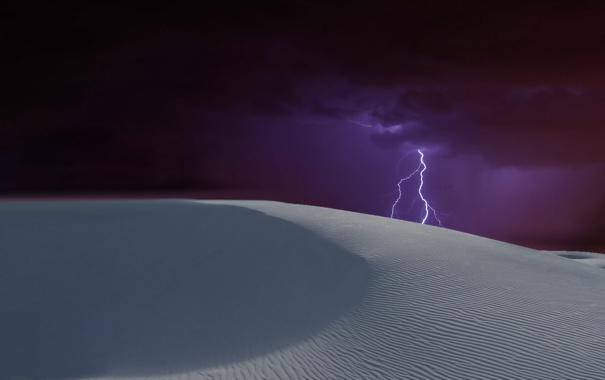 Фото обои гроза, пейзаж, ночь, пустыня