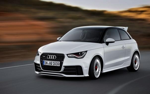 Фото обои Audi, Авто, Ауди, Белый, Фары, В Движении, Quatro