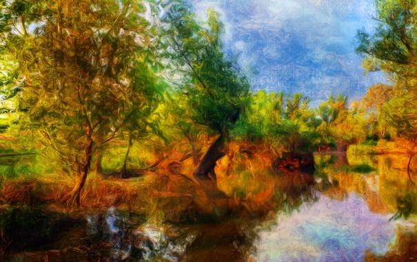 Фото обои осень, деревья, рисунок, размытость