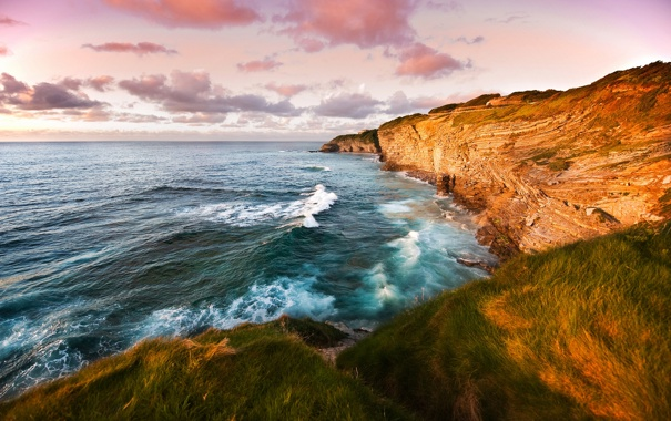 Фото обои море, небо, трава, вода, горы, фото, океан