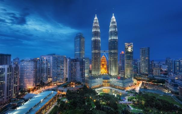 Фото обои night, Малайзия, Kuala Lumpur, Blue Hour, Malaysia, Куала-Лумпур