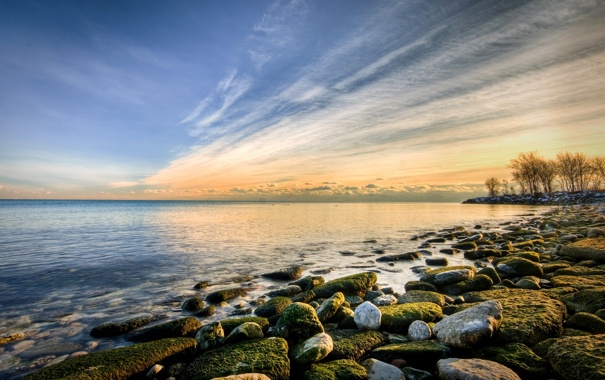 Фото обои море, небо, солнце, пейзаж, закат, природа, камни