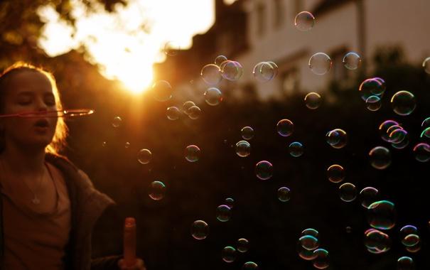 Фото обои свет, пузыри, девочка