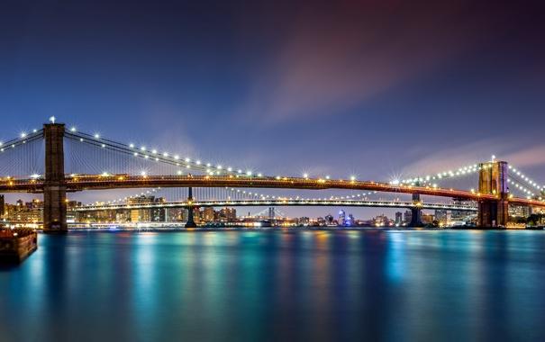 Фото обои вода, ночь, мост, город, lights, огни, небоскрёбы
