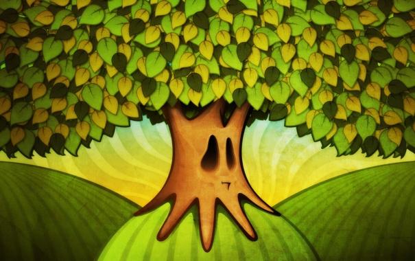 Фото обои листья, ветки, лицо, корни, дерево, холмы, рисунок