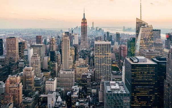Фото обои город, Нью-Йорк, США, Манхэттен, Эмпайр-стейт-билдинг, Рокфеллеровский центр