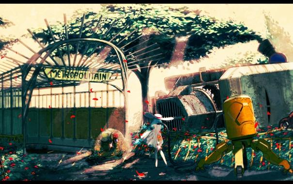 Фото обои девушка, солнце, деревья, цветы, природа, метро, шляпа