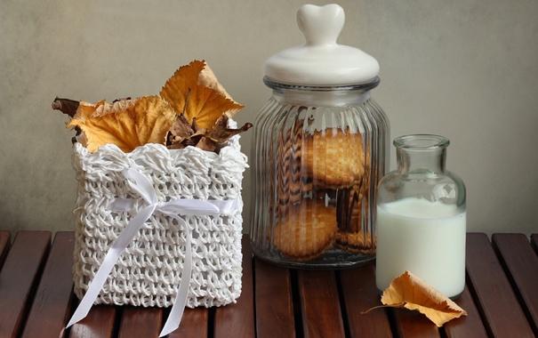Фото обои осень, листья, еда, молоко, пирожное, натюрморт, десерт