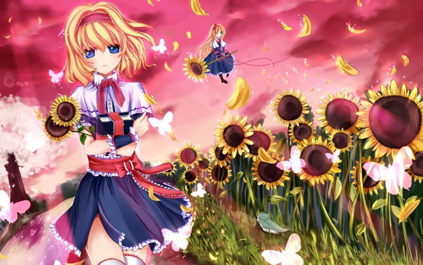 Фото обои небо, взгляд, бабочки, подсолнухи, улыбка, ручей, девушки
