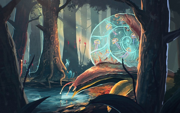Фото обои лес, вода, деревья, улитка, art