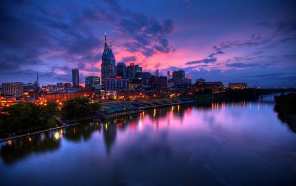 Фото обои огни, USA, США, сумерки, Nashville, Нэшвилл, река Камберленд