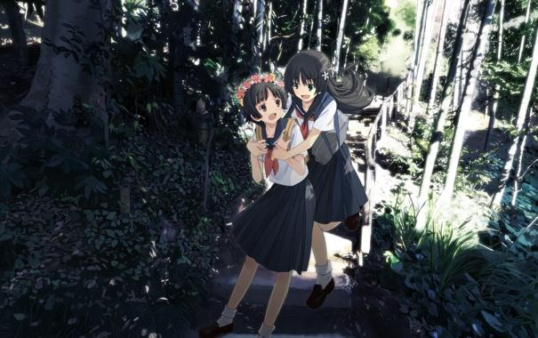 Фото обои улыбка, Девушки, бамбук, лестница, ступеньки, портфель, рюкзак