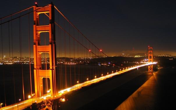 Фото обои ночь, мост, огни, Сан, Франциско