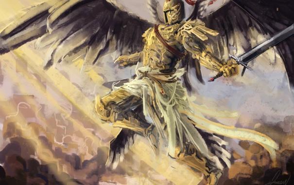 Фото обои крылья, ангел, доспехи, арт, рыцарь