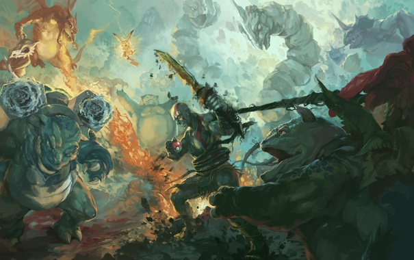 Фото обои god of war, kratos, pokemon, Pikachu, Blastoise, Venusaur, Onix