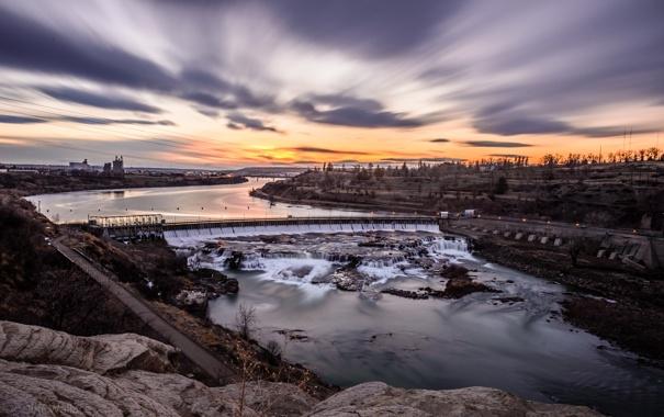 Фото обои природа, река, дамба, Миссури, River, Missouri