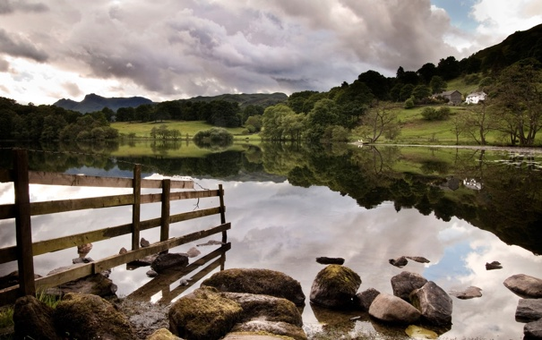 Фото обои небо, облака, деревья, пейзаж, природа, река, камни