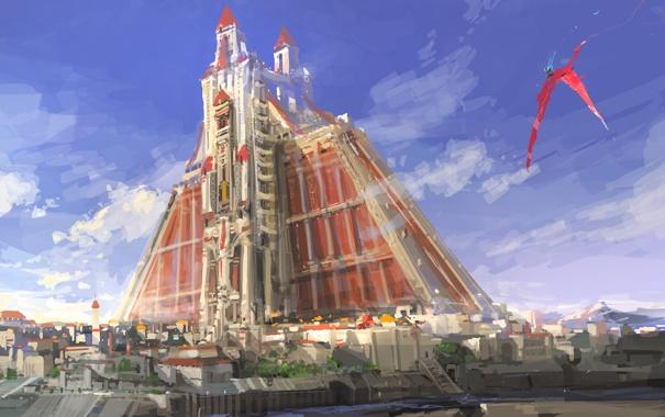 Фото обои небо, город, фантастика, птица, здание, арт, крепость