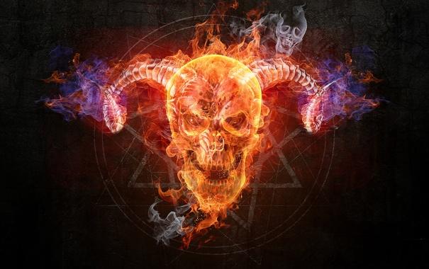 Фото обои music band, fire, skull