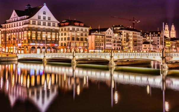 Фото обои небо, ночь, мост, огни, река, дома, кран