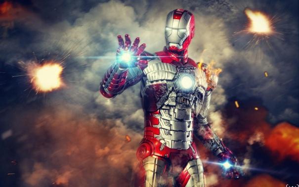 Фото обои блики, костюм, Fire, железный человек, Iron Man