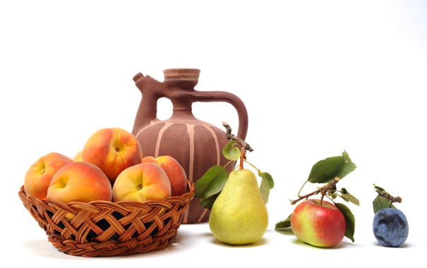 Фото обои корзина, яблоко, груша, кувшин, фрукты, персики, слива