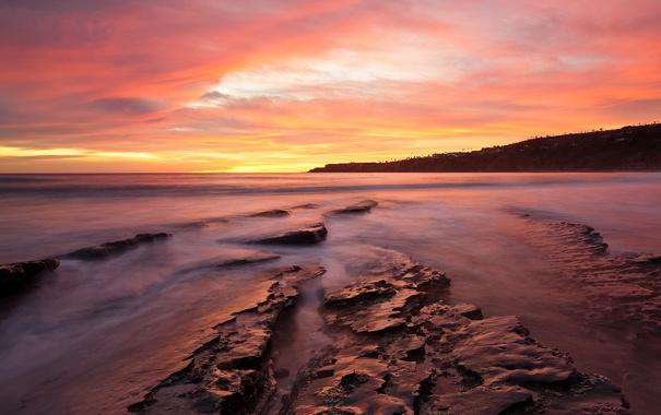 Фото обои море, вода, закат, океан, скалы, берег