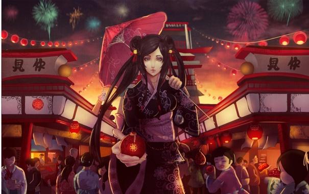 Фото обои дети, Девушка, зонт, фейерверк, кимоно