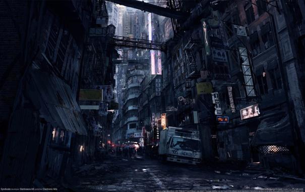 Фото обои ночь, город, люди, улица, Syndicate, трущобы