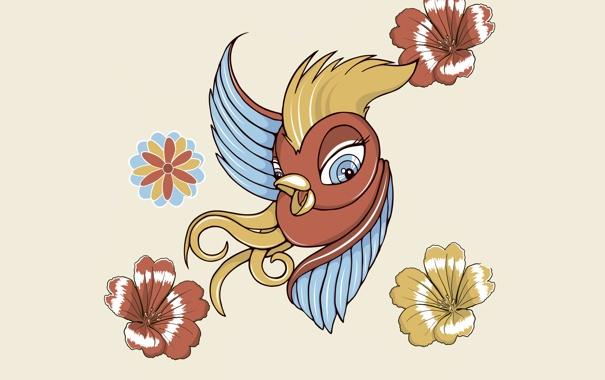 Фото обои птица, птичка, вектор, цветы