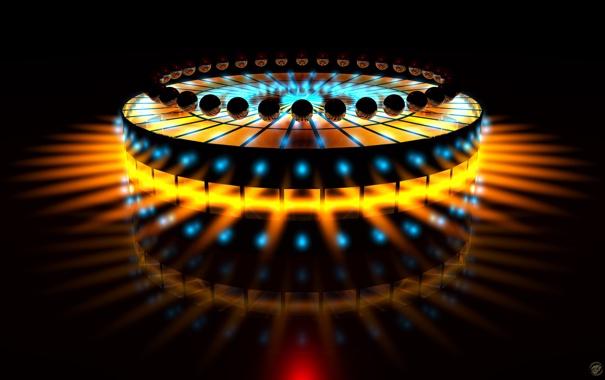 Фото обои лучи, огни, фон, чёрный, шары, свечение