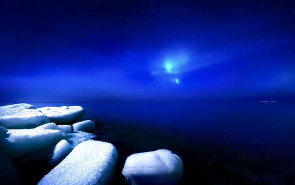 Фото обои зима, лед, ночь, небо, Финляндия