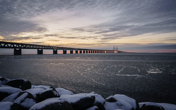 Фото обои Sweden, Bunkeflostrand, Skane, Øresund Bridge