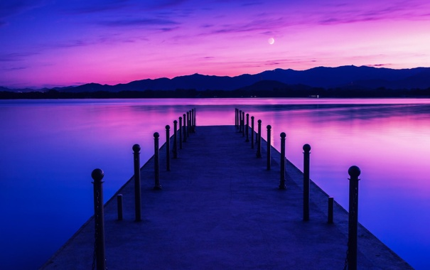 Фото обои небо, пейзаж, озеро, рассвет, луна, пирс, сумерки