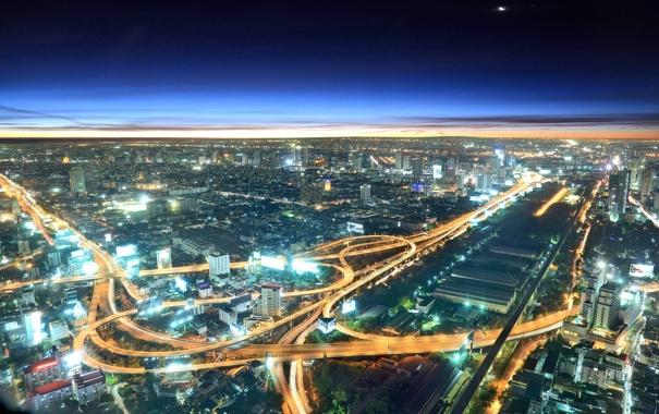 Фото обои небо, свет, город, дороги