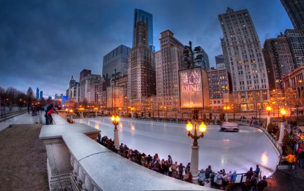 Фото обои США, каток, вечер, город, Chicago, Иллиноис, illinois