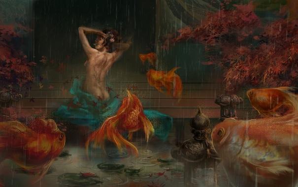 Фото обои листья, девушка, рыбки, рыбы, дождь, тату, арт