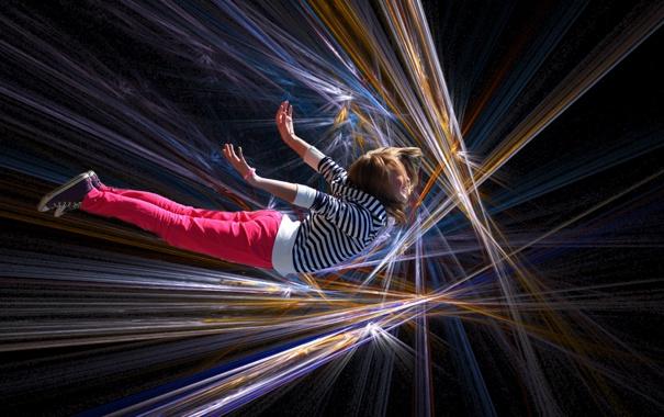 Фото обои фон, девочка, полёт