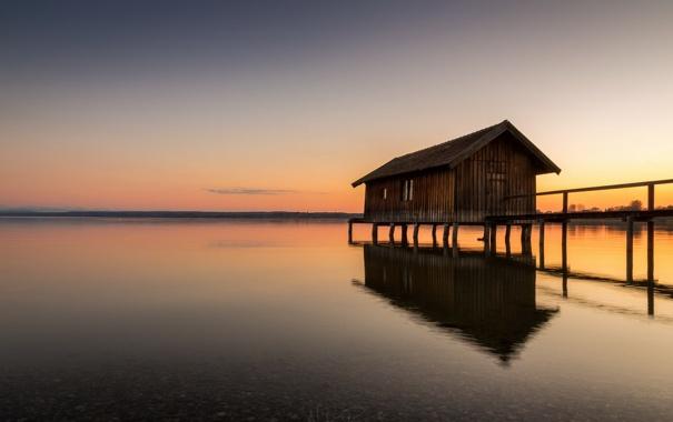 Фото обои закат, мост, озеро