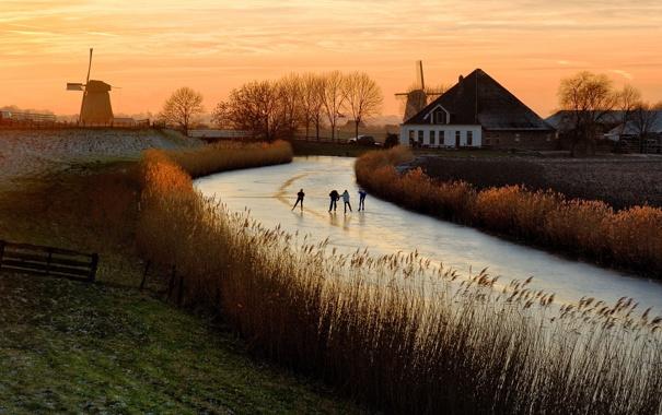 Фото обои закат, река, лёд