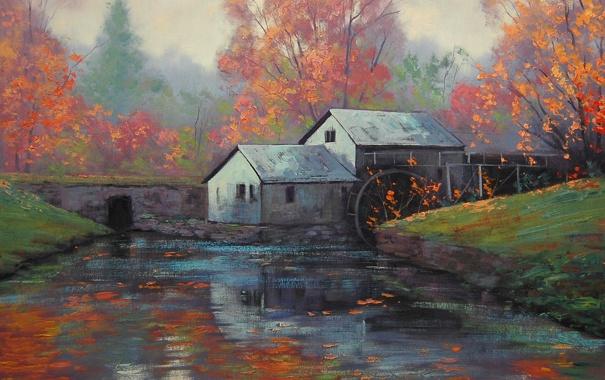 Фото обои лес, река, рисунок, арт, artsaus, the water wheel
