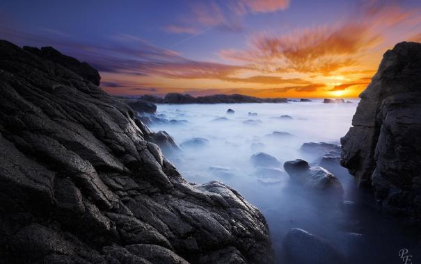 Фото обои море, пейзаж, природа, камни, скалы, рассвет, берег