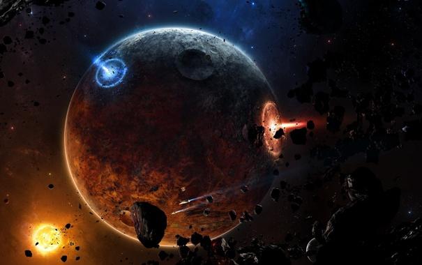 Фото обои Planets, Space, Spacecrafts, Meteoroids, Blue, Sun, Взрывы