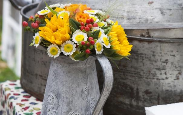 Фото обои цветы, букет, кувшин, flowers, bouquet, pitcher