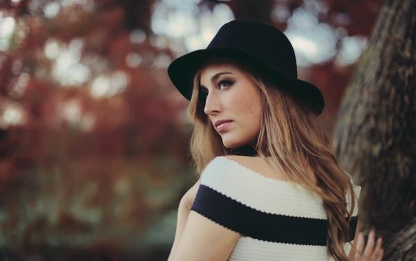 Фото обои осень, портрет, шляпка, кареглазая